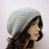 Gray Slouch Beanie - Womens Slouchy Crochet Hat - Oversized Silver Cap - Fall Winter Fashion Accessories