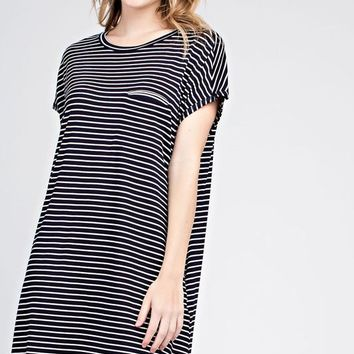 Navy and White Striped Dress with Pockets