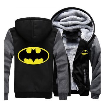 USA size Men Women Batman Zipper Jacket Sweatshirts Thicken Hoodie Coat Clothing Casual