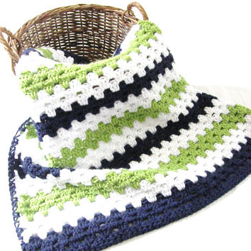 Ready To Ship Navy Blue Lime Green White Baby Blanket Afghan  Stroller Travel Keepsake Heirloom Baby Shower Gift Photo Prop