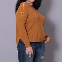 Plus Size Ribbed Lace Up Sweater - Mustard