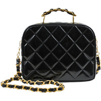 Chanel Black Patent Lunch Box Tote