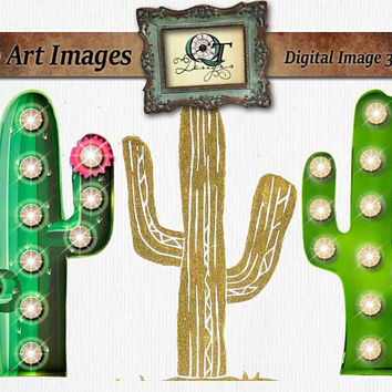 Marquee Sign Cactus with Lights | png images with transparent background, high resolution 300 dpi, Truck, Sign, Leapord Print, Ribbon
