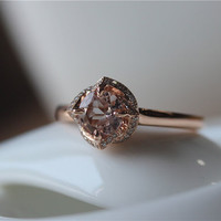 6.5mm Round Cut Pink Morganite 14K Rose Gold Pave Natural Diamonds Ring/ Wedding Ring/ Anniversary Ring/ Engagement Ring/Promise Ring