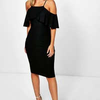 Dalila Cold Shoulder Frill Detail Midi Dress | Boohoo