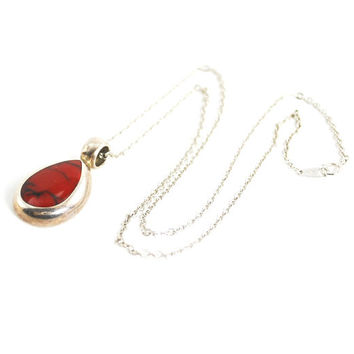 Vintage Sterling Silver Necklace, MEXICAN Sterling Silver Necklace, Red Jasper Stone Necklace, Teardrop Pendant Necklace, 1980s Jewelry