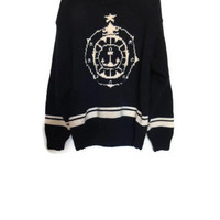 Vintage Tommy Hilfiger Nautical Anchor Sailor Sweater, Grandpa Sweater, Over sized Sweater, FREE SHIPPING