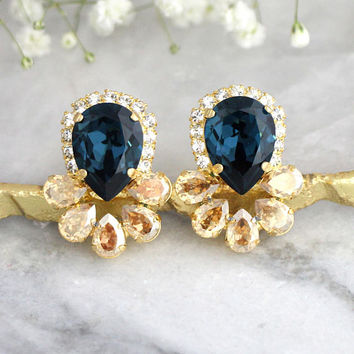 Blue Navy Earrings, Navy Blue Earrings, Bridal Blue Navy Earrings, Dark Blue Swarovski Crystal Earrings, Blue Champagne Crystal Bridal Studs