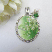 Broken China Pendant Sterling Silver Vintage China St. Patricks Day Tree Top