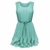 Amazon.com: Front With Belt Elegant Sleeveless Pleated Chiffon Summer Dress: Clothing