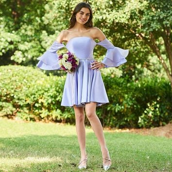 Strapless bridesmaid dress lavender sleeves mini a line gown lady wedding party bridesmaid dresses
