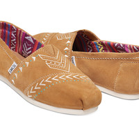 BROWN SUEDE EMBROIDERED WOMEN'S CLASSICS