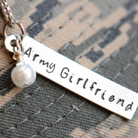 Army / Navy / Air Force / Marines - Girlfriend / Wife /Mom Metal Stamped Pendant / Charm