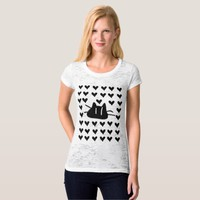 LOVE LOVE CAT Women's Canvas Fitted Burnout T-Shir T-Shirt