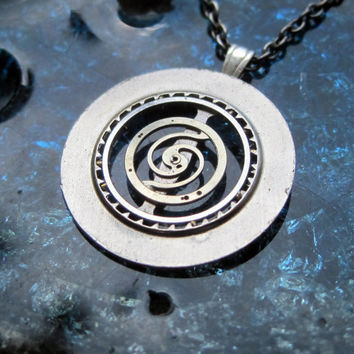 "Clockwork Pendant ""Hypnotic"" Recycled Mechanical Watch Gears and Intricate Sculpture Wearable Art Not Quite Steampunk Assembly Necklace"