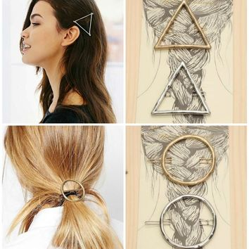 Geometric Triangle or Circle Boho Hair Pins Barrettes