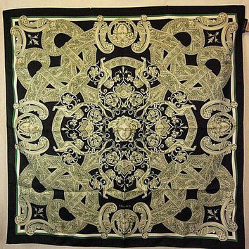 DCCKRQ5 Versace Italy 100% Silk Scarf Hand Rolled, Black/Gray/Green, 34' x 34'