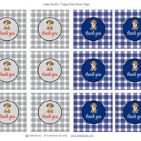 Gingham Puppy Birthday Party Favor Tags: INSTANT DOWNLOAD
