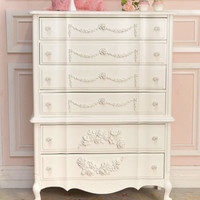 8379 - Chic Curvy White Rose 6 Drawer Highboy Dresser - $895 - The Bella Cottage