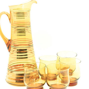 Amber Pitcher and Glass Set