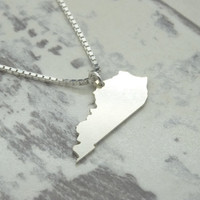 I LOVE Kentucky State Necklace Pendant Sterling Silver Hand Cut in USA