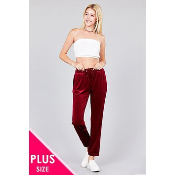 Ladies fashion plus size waist drawstring velvet jogger pants Beautiful Womens Plus Size Fashion Styles Trends Outfits On A Budget