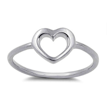 Sterling Silver CZ Open Heart Ring Size 1-9 Baby, Ladies, Midi, Knuckle
