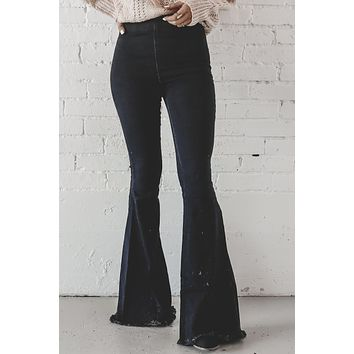 Play With My Heart Black Frayed Hem Bell Bottoms