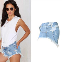 Frayed Rough Edges Ripped High Waist Slim Shorts