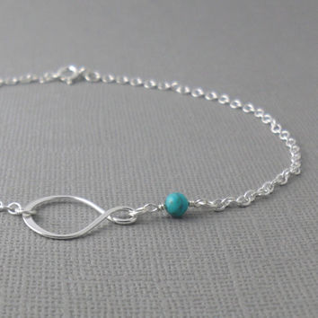 Natural Turquoise Sterling Silver Infinity by PuranaJewellery