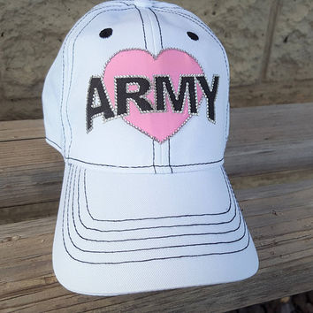 Army Mom Hat, Army Wife Hat, Army Girlfriend Hat, Army Love Heart Hat, White Army Mom hat with pink heart