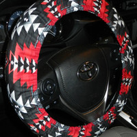 Tribal Red Blanket Steering Wheel Cover-Car Accessory-Red Tribal Car Decor-Car Wheel Cover-Tribal Car Accessory
