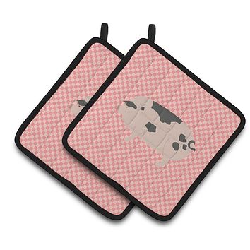 Gloucester Old Spot Pig Pink Check Pair of Pot Holders BB7940PTHD