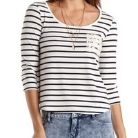 Lace Pocket Striped Boxy Tee by Charlotte Russe