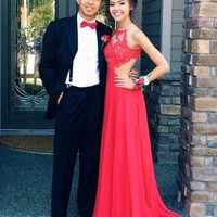 Custom Made A Line Round Neck Red Lace Prom Dresses, Red Lace Formal Dresses