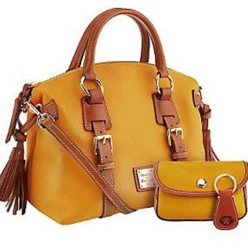 Dooney & Bourke Pebble Leather Domed Satchel w/Accessories — QVC.com