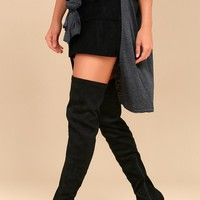 Jenelle Black Suede Over the Knee Boots