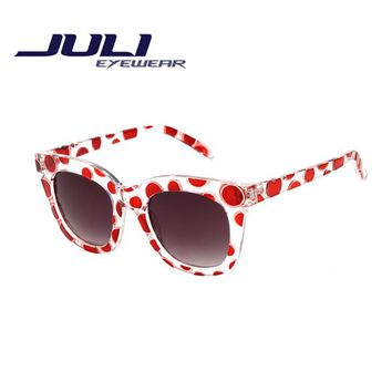 JULI 2016 New Fashion Woman Round Sunglasses Polka dots frame Sun Glasses Candy Color Female Glasses Oculos De Sol Feminino W902