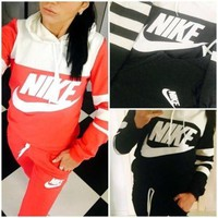 NIKE Fashion Women Casual Gym Sport Stitching Color Hoodie Two Piece Suits I