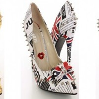 Red Kiss Darby Pointy Toe Pumps Heels. Gold, Silver or London Print | shoes heels high heel shoes trendy shoes stilettos