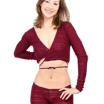 2Pc, Wrap Top Sweater Self Tie Low Rise Hipster Tights by KD Dance Made In USA