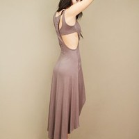 jersey cutout dress with a racer-shaped back and a high-low hemline | shopcuffs.com