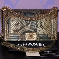 CHANEL $12K VERSAILLES Python Swarovski Crystals Medium LE BOY Flap Bag LIMITED!