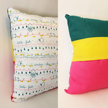 Ready to Ship - Coastal Sea Creatures Stripes Color Block Decorative Pillow Case Cover Size 12x12 Bright Pink Yellow Green White
