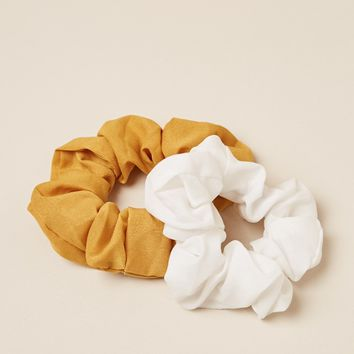 Love You Anywhere scrunchie 2-pack in white and yellow Produced By SHOWPO