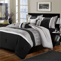 King 8-Piece Microfiber Comforter Set With Black Gray Spiral Pattern