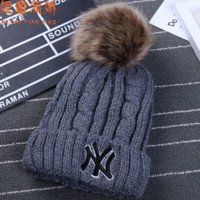 """NY"" Letters printing knitting hat - warm hair bulb Grey"