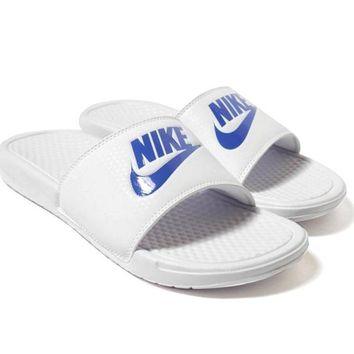 NIKE Casual Fashion Solid Color Flats Slipper Sandals Shoes Contrast Style White