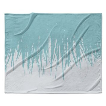"Project M ""Fringe Salt"" Blue White Digital Fleece Throw Blanket"