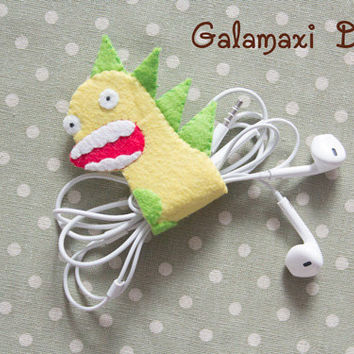 Handmade Felt Dinosaur Earphone Cord Organizer Felt Cable Keeper Dinosaur Cable Organizer Earphone Wire Holder Cord Catch
